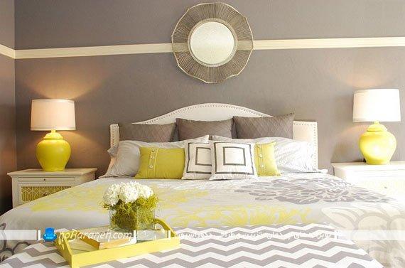عکس و مدل طراحی دکوراسیون زیبا در اتاق خواب عروس با رنگ زرد