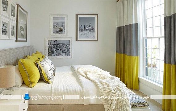 تزیین اتاق عروس با رنگ زرد و خاکستری