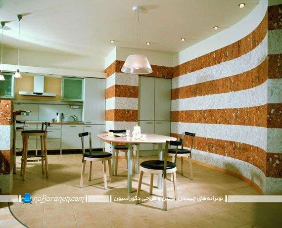 تزیین دیوار منزل با طرح راه راه افقی