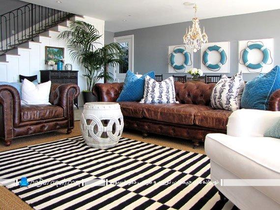 تزیین منزل با فرش راه راه سیاه و سفید