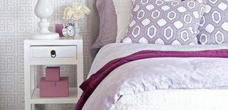 طراحی دکوراسیون شیک و زیبا اتاق عروس با رنگ بنفش