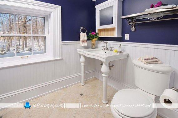 سرویس بهداشتی با ترکیب رنگی تیره و روشن به سبک کنتراست و تضاد