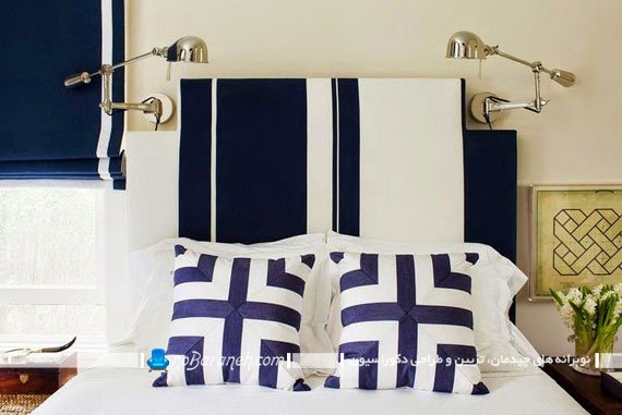 کنتراست و تضاد رنگی سفید و سرمه ای در دکوراسیون اتاق خواب