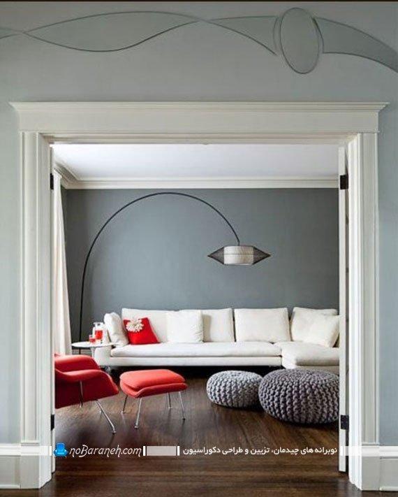 کنتراست و تضاد رنگی سفید و خاکستری در اتاق پذیرایی