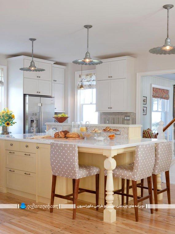 مدل آشپزخانه جزیره با میز بزرگ سنگی