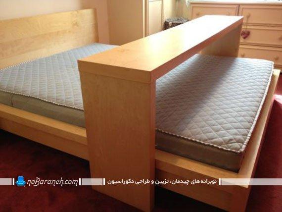 تخت خواب چوبی ساده با میز کامپیوتر چرخ دار