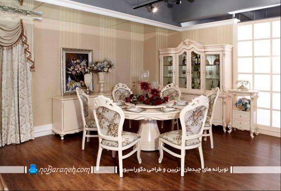میز ناهاری خوری گرد شش نفره / عکس میز ناهار خوری کلاسیک شش نفره ابعاد میز ناهار خوری دایره  میز ناهارخوری دایره شکل