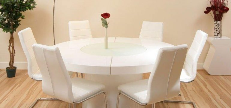 میز ناهارخوری مدرن و گرد شش نفره با صندلی چرمی سفید