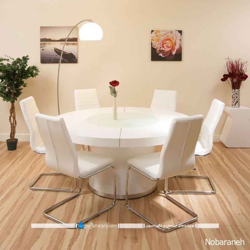 میز ناهار خوری گرد چوبی برای پذیرایی دایره وار صمیمی نوبرانه
