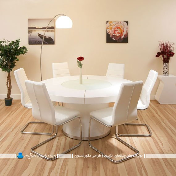 میز نهارخوری مدرن شش نفره با رنگ سفید و پایه استیل