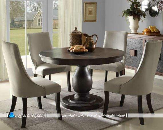 میز ناهاری خوری گرد چهار نفره / عکس میز ناهار خوری گرد چوبی کم جا مدل های جدید میز نهارخوری