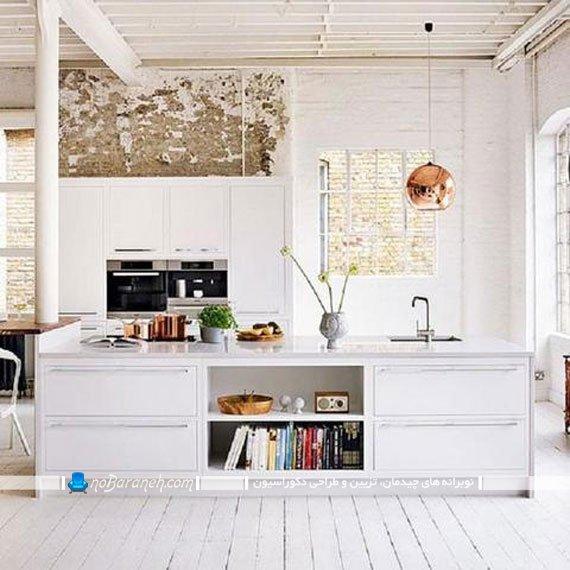 نورپردازی میز اپن آشپزخانه با مدل چراغ های آویز دار
