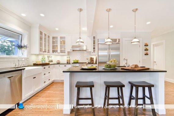 چراغ های تزیینی آویز سقفی برای نورپردازی اپن آشپزخانه