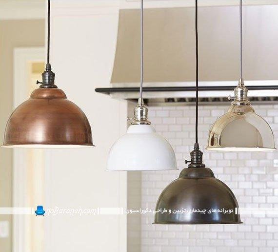 نورپردازی اپن آشپزخانه با چراغ های فانتزی کلاهک دار