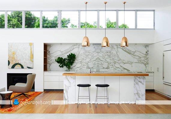 نورپردازی اپن آشپزخانه با چراغ آویز سقفی