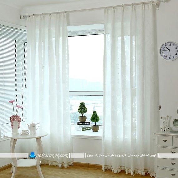مدل پرده سفید رنگ برای پنجره نورگیر
