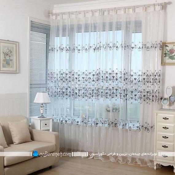 پرده شیشه ای حریر نما برای اتاق نشیمن