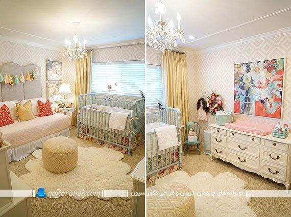 چیدمان مبلمان های کلاسیک در اتاق نوزاد