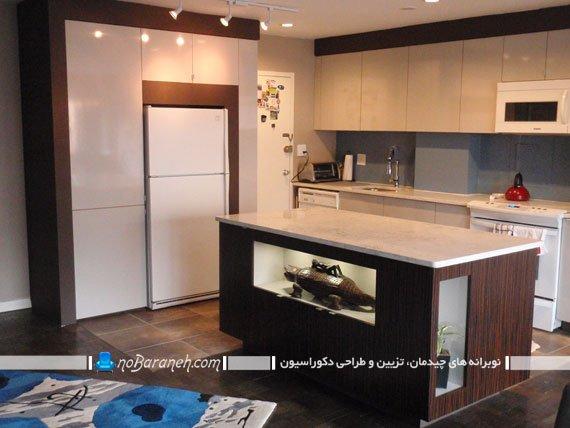 فضا سازی در آشپزخانه با ساخت کابینت برای فضای بالای یخچال