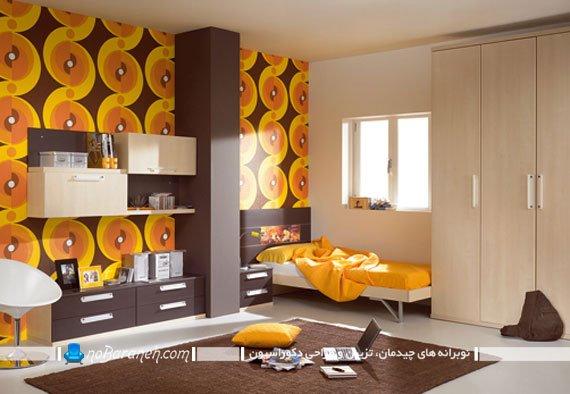 رنگ آمیزی اتاق نوجوان با زرد و نارنجی رنگهای زرد و قهوه ای در دکوراسیون نوجوانان دختر و پسر