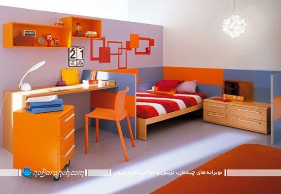 تزیین دکوراسیون دخترانه با رنگ های پر هیجان مثل قرمز و نارنجی در اتاق نوجوان