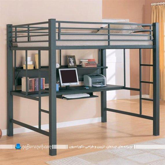 تخت دو طبقه فلزی با میز کامپیوتر