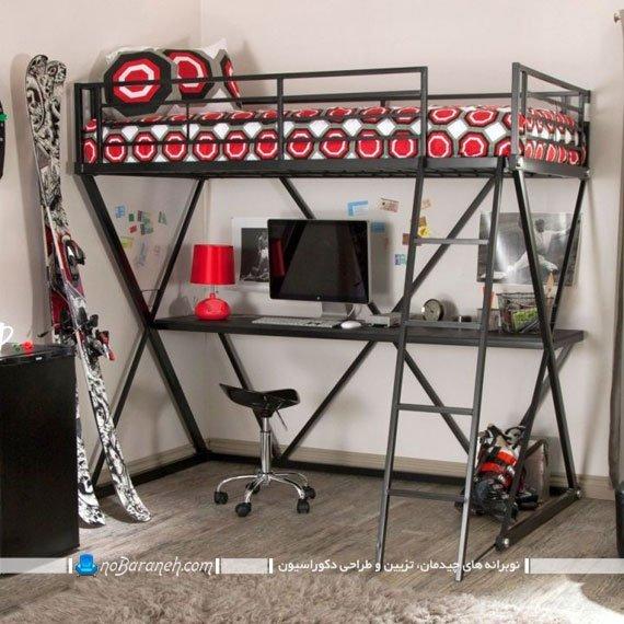 مدل تخت خواب دو طبقه با میز کامپیوتر