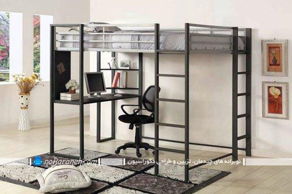 تخت خواب دو طبقه نوجوان نردبان دار با میز کامپیوتر
