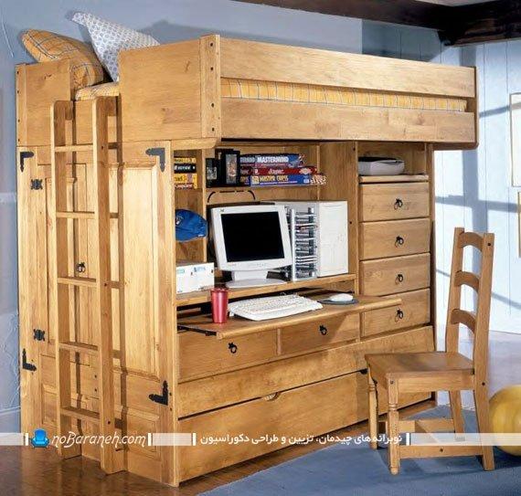 تخت خواب دو طبقه کمجا با میز تحریر و کشو دار