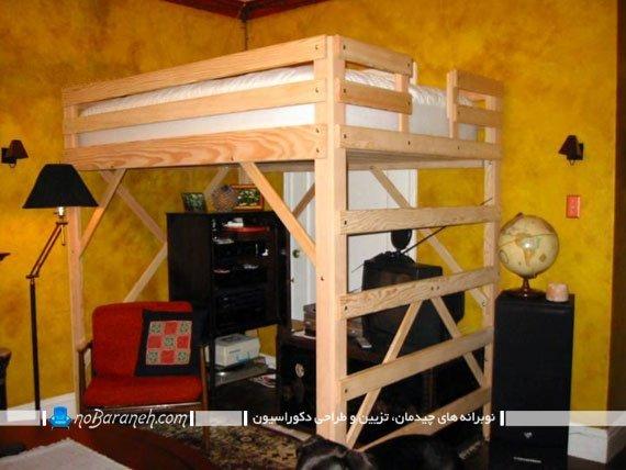 تخت خواب دو طبقه چوبی با طراحی ساده