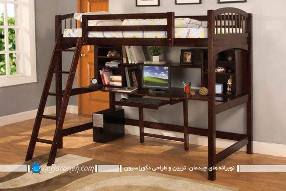 تخت دو طبقه چوبی برای اتاق کودک