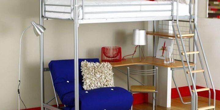 تخت خواب دو طبقه نردبان دار برای اتاق خواب کوچک