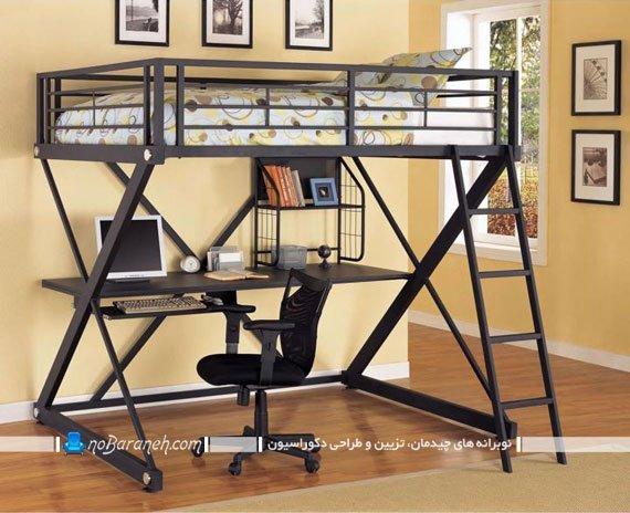 چیدمان تخت خواب دو طبقه نوجوان با میز کامپیوتر