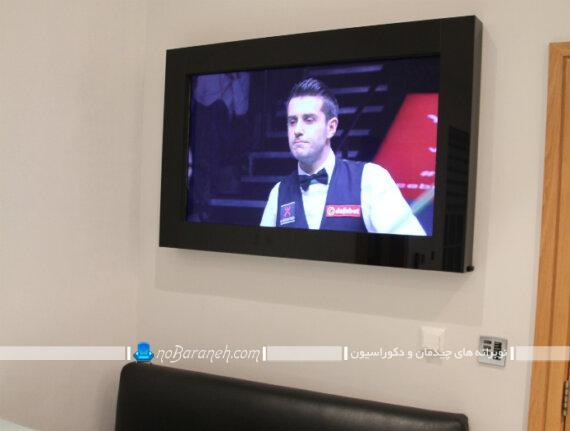 باکس و قاب تلویزیون روی دیوار. مدل های جدید دکوراسیون تلویزیون دیواری کلاسیک و سلطنتی. طرح جدید باکس تلویزیون دیواری