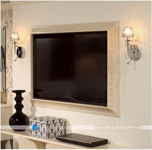 باکس چوبی تلویزیون دیواری در مدل های جدید شیک کلاسیک سلطنتی مدرن زیبا. ایده و مدل های جدید تزیین و دیزاین تلویزیون دیواری