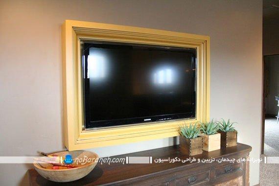 دیزاین تلویزیون نصب شده به دیوار به شکل تابلو کلاسیک