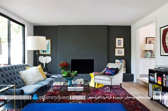 ایجاد کنتراست در اتاق پذیرایی با دیوار آجری تیره رنگ