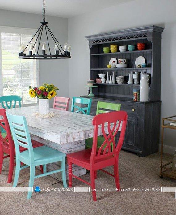 رنگ کردن صندلی چوبی با رنگ های متنوع