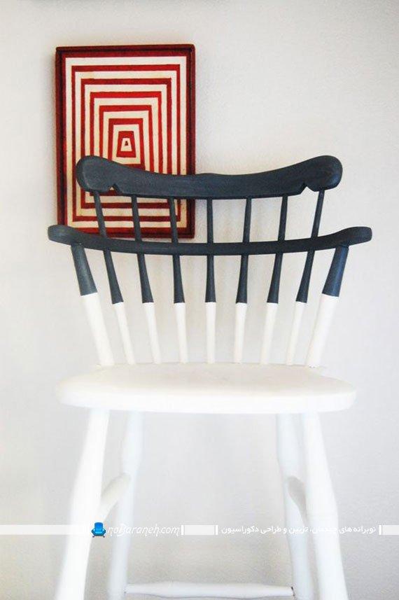 رنگ آمیزی صندلی و وسایل چوبی با رنگ سفید و سرمه ای