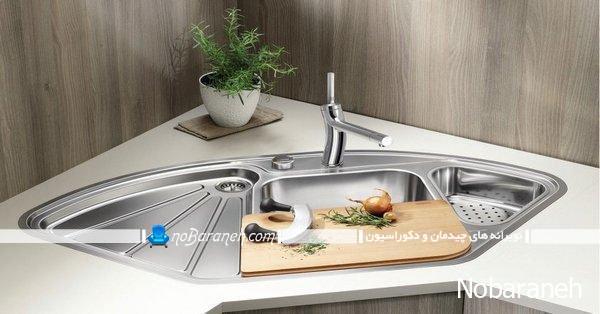 سینک ظرفشویی کنجی با طراحی جدید و مدرن
