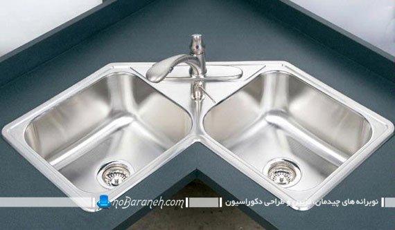 سینک ظرفشویی سه گوش برای کنج آشپزخانه. مدل جدید شیک مدرن کوچک سینک گوشه ای و کنجی ال