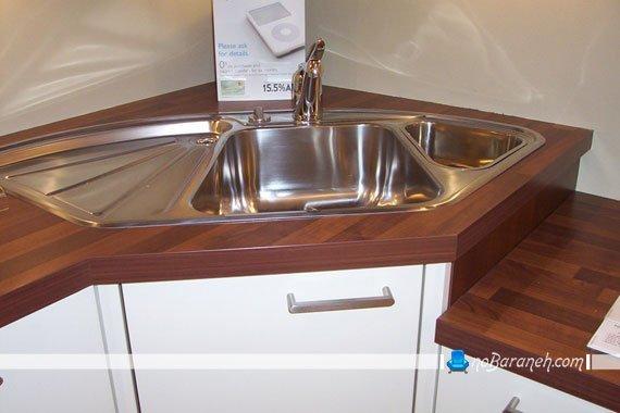 سینک ظرفشویی گوشه ای کنجی ال. خرید سینک ظرفشویی گوشه ای. مدل سینک ظرفشویی گوشه ای