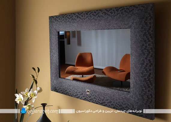طرح جدید و شیک تزیین تلویزیون دیواری. تزیین تلویزیون روی دیوار با قاب و باکس دکوراتیو شیک تزیینی کلاسیک سلطنتی