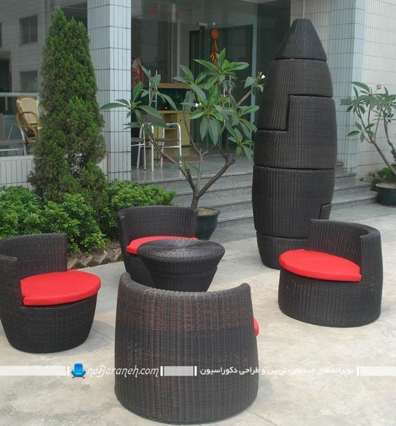 مبل حصیری ضد آب برای چیدمان در فضای باز با طراحی کمجا