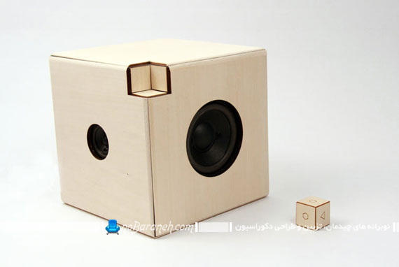 اسپیکر و پخش کننده موزیک با طراحی چوبی
