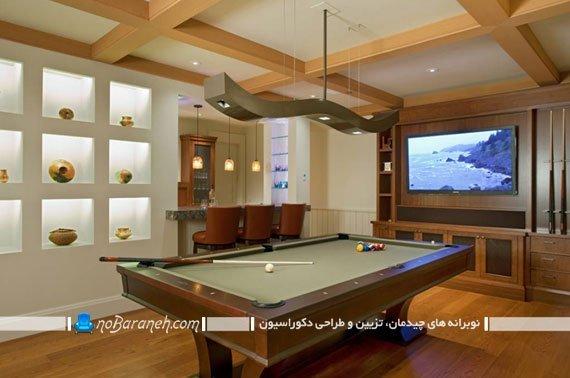 نورپردازی شیک و مدرن سالن بیلیارد. مدل های چراغ نورپردازی میز بیلیارد