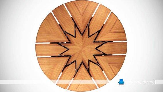 میز ناهارخوری گرد و کمجا با جنس چوبی