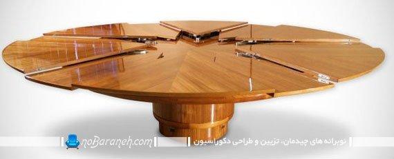 میز ناهارخوری گرد چوبی و کمجا