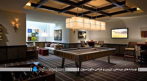 چراغ سقفی بزرگ برای نورپردازی میز بیلیارد. مدل های تزیین اطراف میز بیلیارد