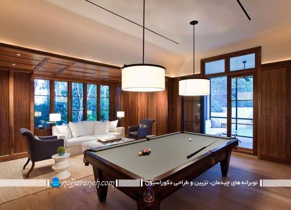 طراحی دکوراسیون سالن بیلیارد خانگی
